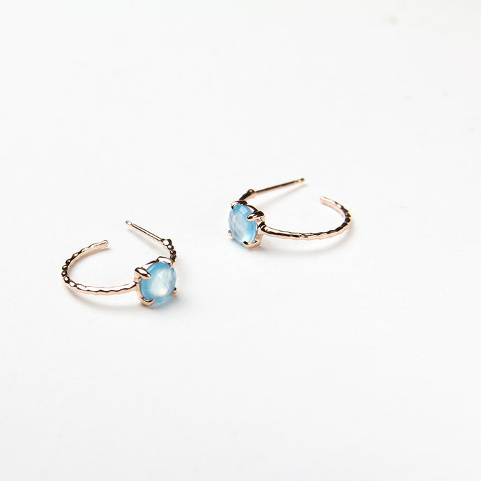 Blue Chalcedony Baby Hoops