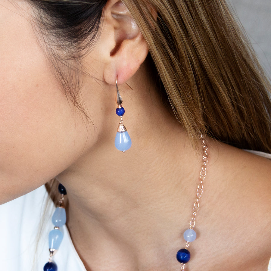 Blue Jade and Cats Eye Hook Earrings