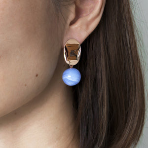 Blue Lace Agate Drop Studs