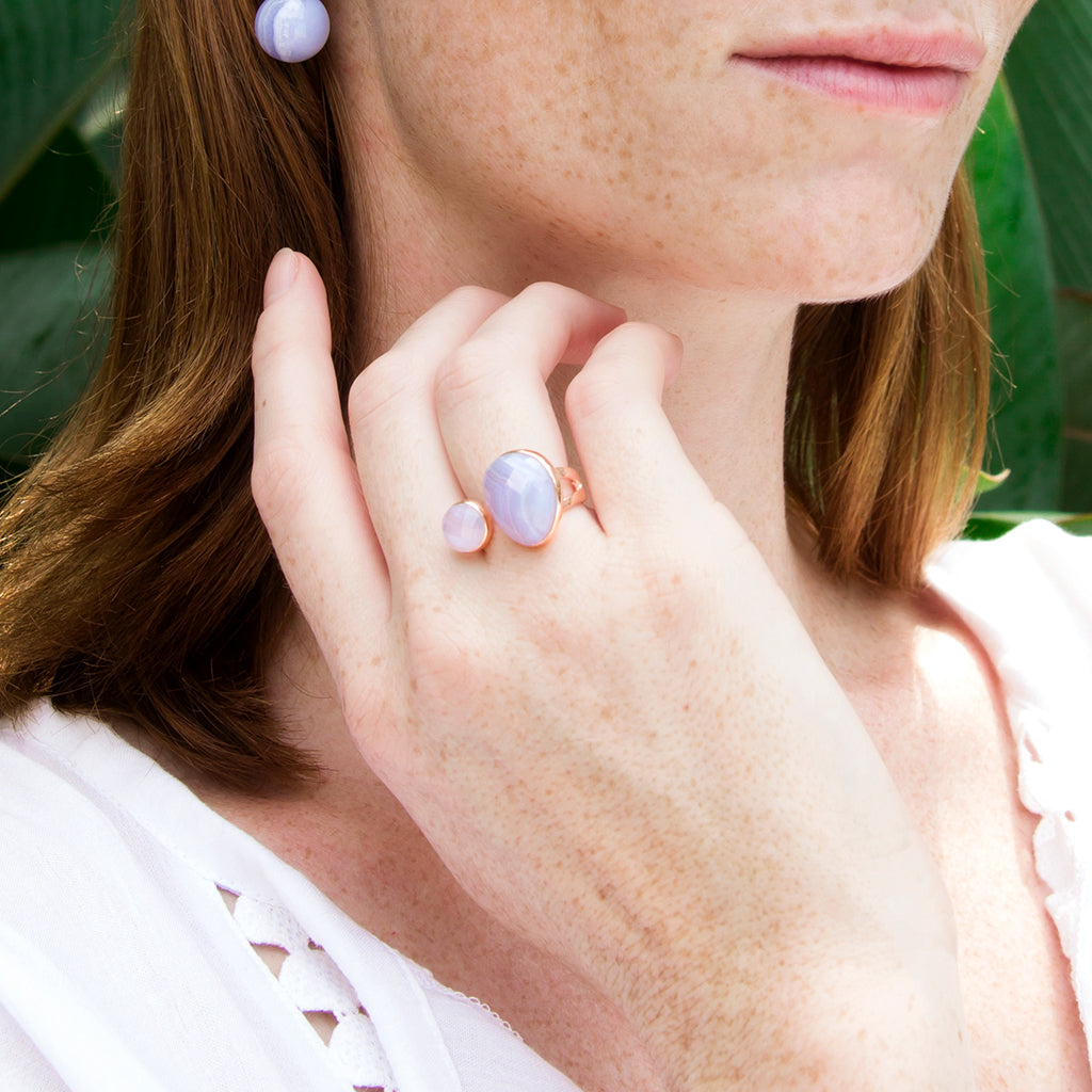 Blue Lace Agate Double Ring
