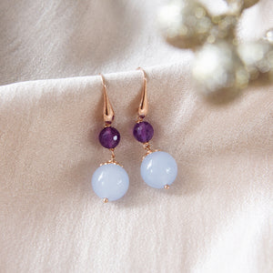 Blue Jade and Amethyst Earrings