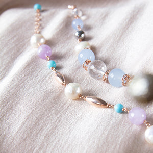 Blue Jade, Crystal and Hematite Bracelet