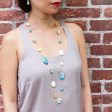 Blue Jasper, Amazonite & Pearl Long Necklace