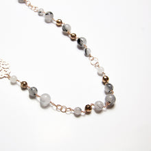 Boema Long Necklace with Black Rutilated Quartz and Hematite