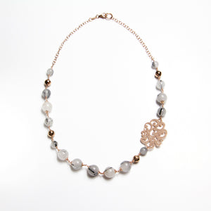 Boema Short Necklace with Black Rutilated Quartz and Hematite