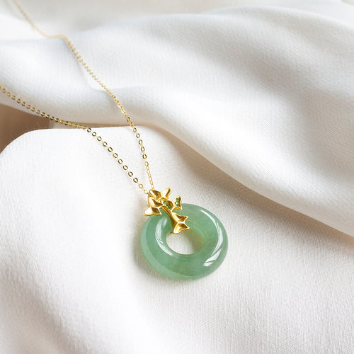 Jade Donut with Butterflies 18K Gold Necklace
