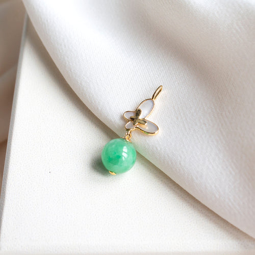Mother of Pearl Butterfly and Jade Drop 18K Gold Pendant
