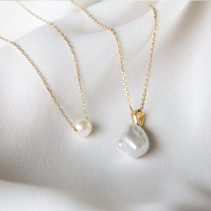 Eva Baroque Pearl 10k Gold Necklace