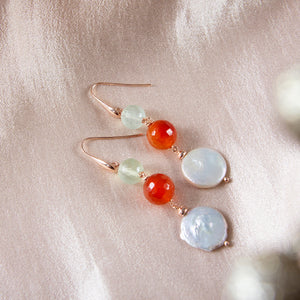 Carnelian, Prehnite and Coin Pearl Earrings