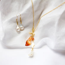 Agate, Carnelian & Quartz Flower Lariat Necklace