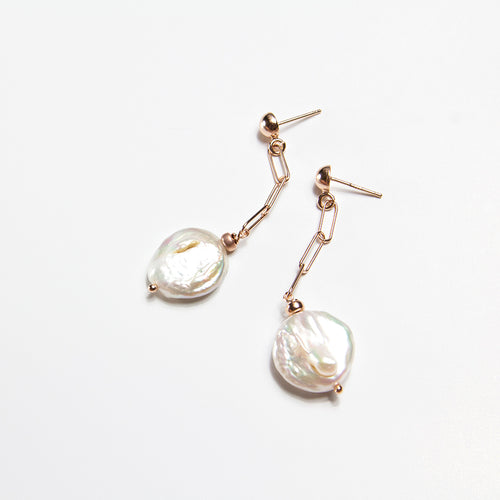 Hanging Coin Pearl Chain Link Earrings