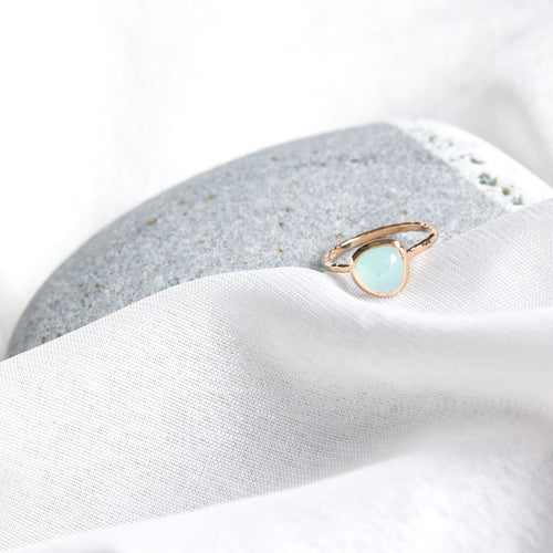 rose cut aqua chalcedony fine ring