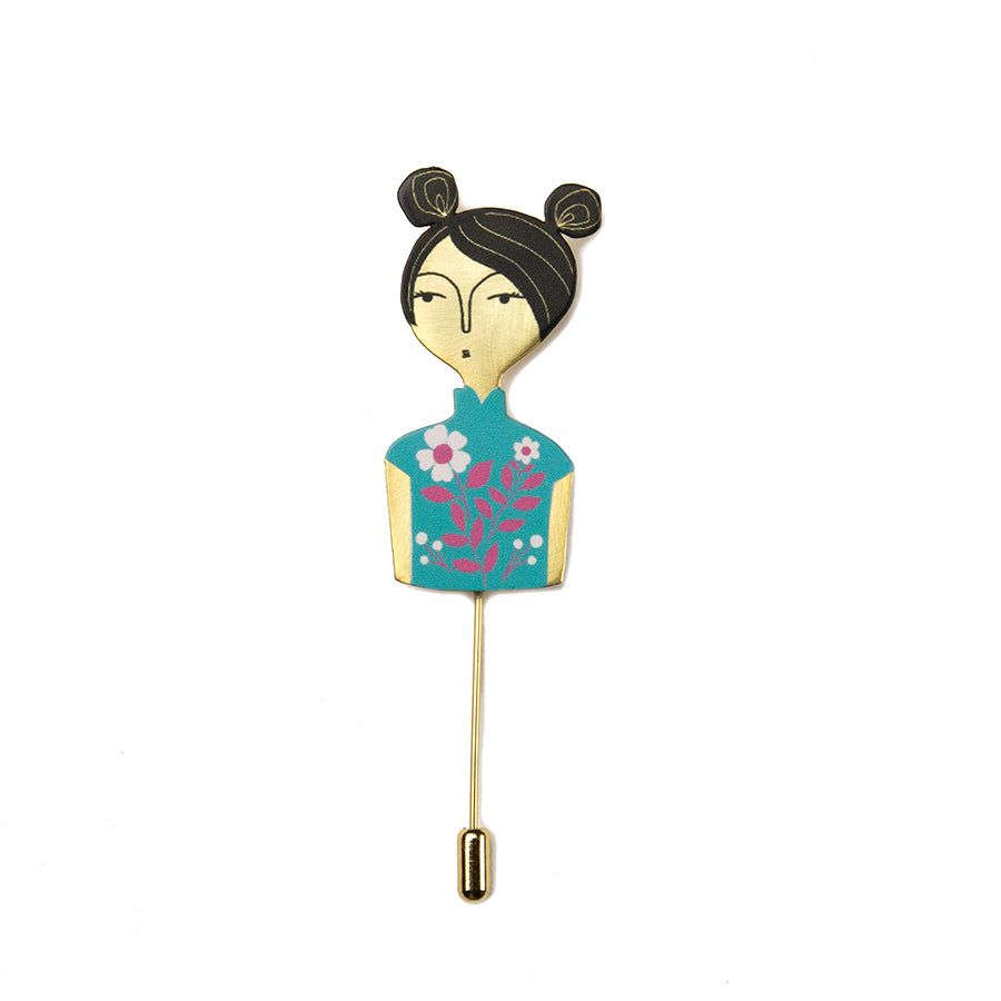 Cheongsam Chicks Brooch