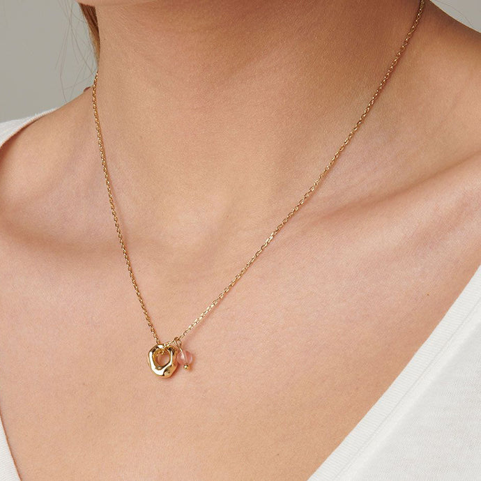 UNOde50 Ciambella Rose Quartz Necklace