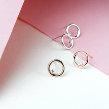Circle Studs with Crystal
