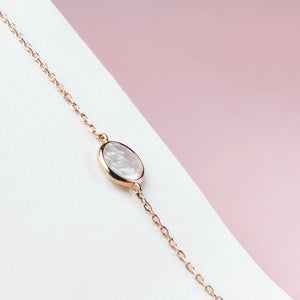 circle mother of pearl rose gold bracelet