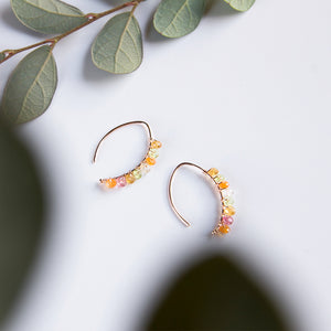 Citrine Multi Gemstone 9k Gold Earrings