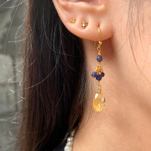 Citrine and Lapis Hook Earrings