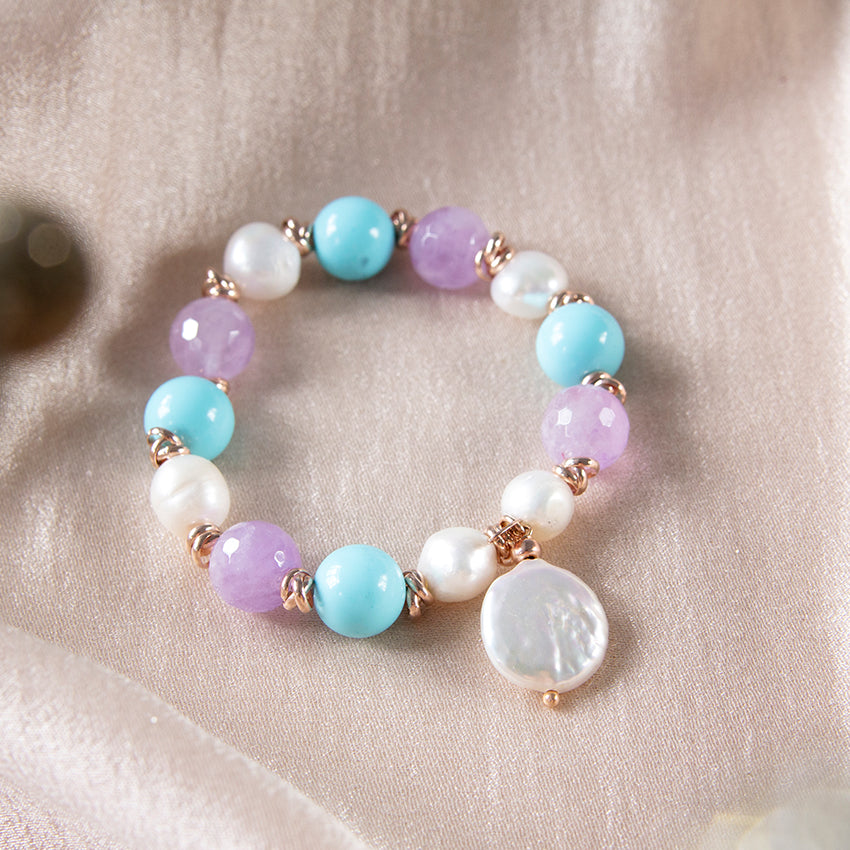 Turquoise, Amethyst and Coin Pearl Bracelet