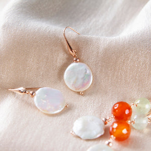 Coin Freshwater Pearl Hook Earrings