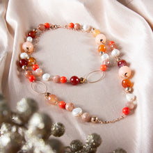 Moonstone, Orange Jade, Rose Quartz, Carnelian and Pearl Long Necklace