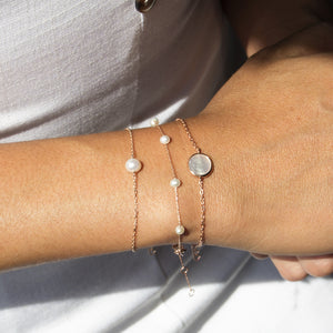 freahwater pearl sterling silver stacked bracelets