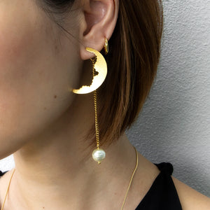 Crescent with Hanging Pearl Earring