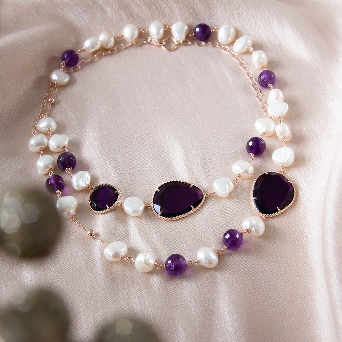 Amethyst and Freshwater Pearl Long Necklace