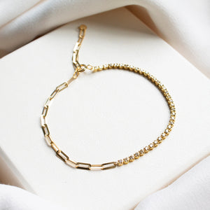 Diamond and Link Chain 18K Gold Bracelet