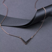rose gold plated short dainty necklace with dipped v pendant