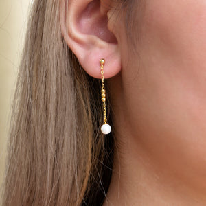 Dotted Freshwater Pearl Drop Earrings
