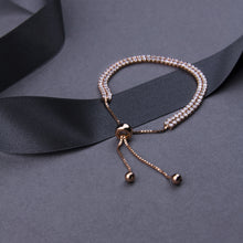 rose gold plated double strand friendship bracelet with crystals