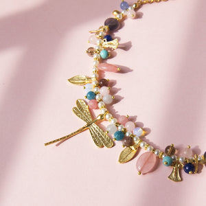 Short Dragonfly Necklace with Stones