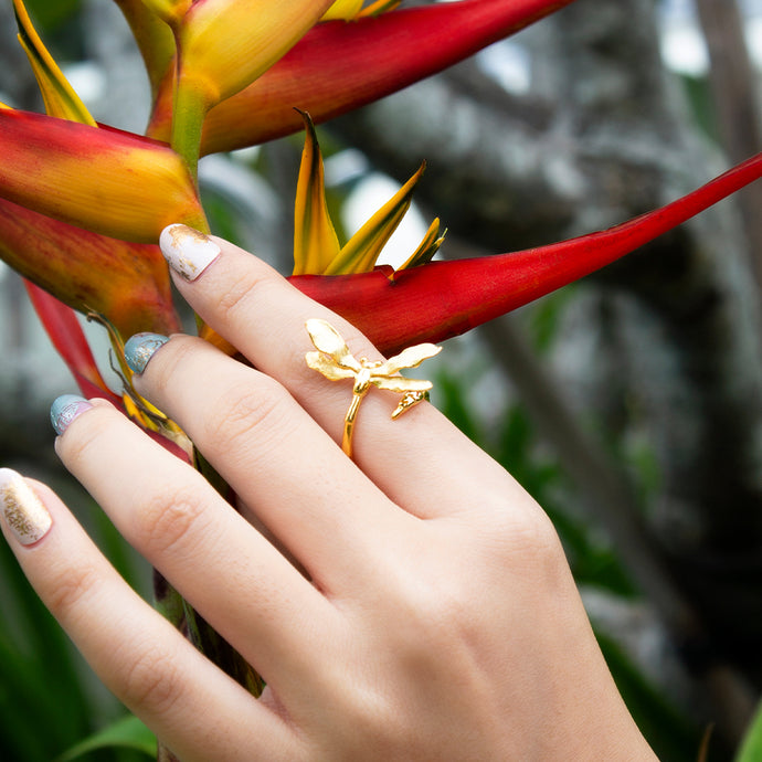 Curled Dragonfly Adjustable Ring