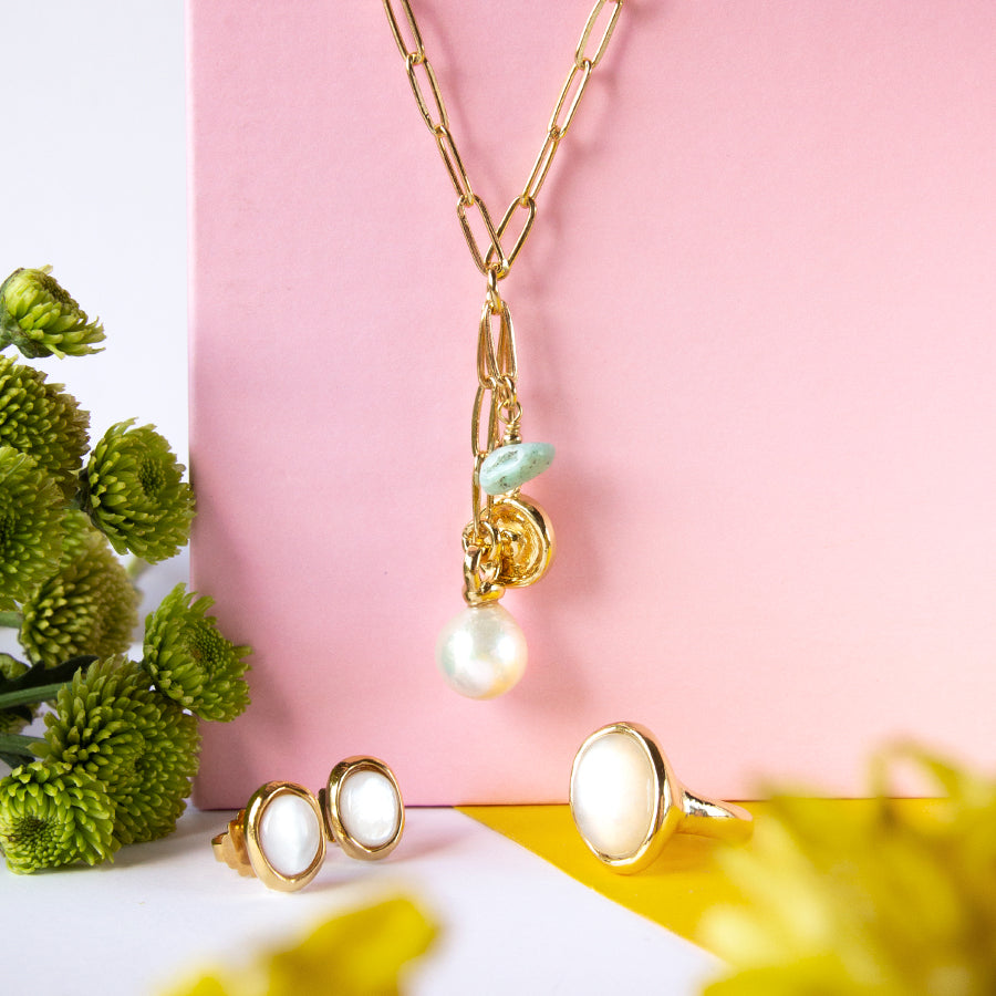 Velatti Pearl Drop Short Necklace