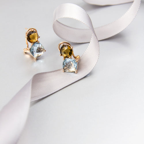 duo coloured swarovski crystals stud earrings