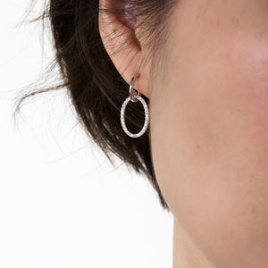 crystal hoop earrings 925 sterling silver