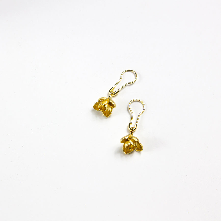 Gold Plated Flowers on Pin Earrings