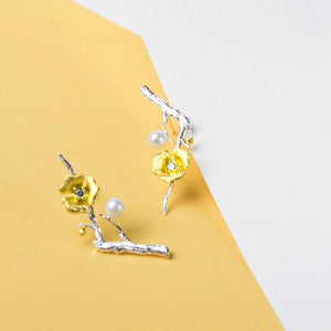Gold Flower on Branch Earrings