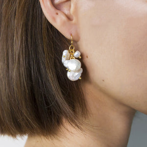 Freshwater Pearl Cluster Hook Earrings