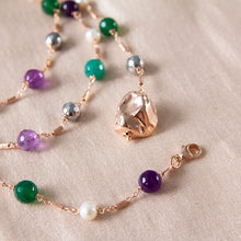 Emerald Green Agate, Hematite, Amethyst and Pearl Adjustable Necklace