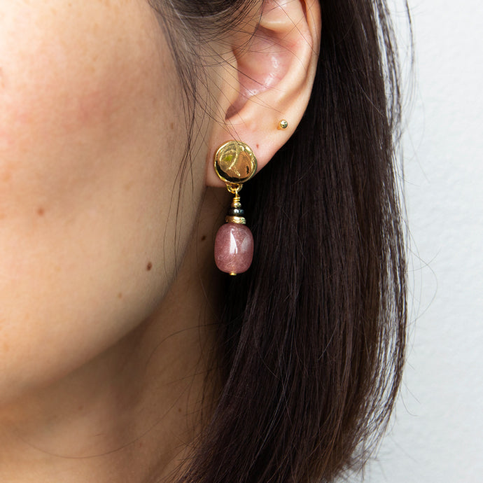 Velatti Single Cherry Quartz Drop Earrings