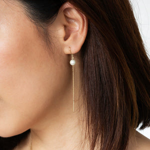 Gen Long Chain Pearl Earrings