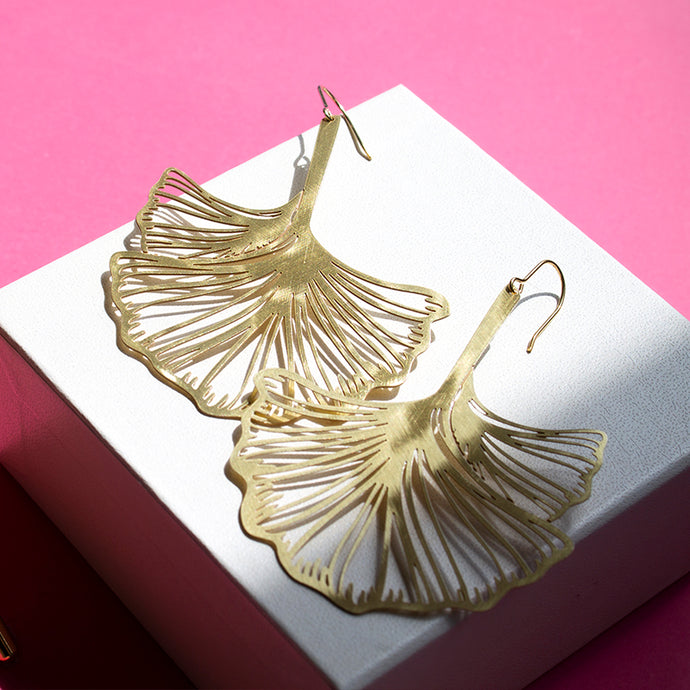 RAS Gingko Biloba XL Gold Earrings