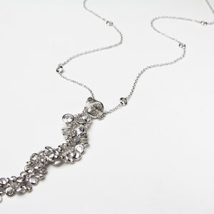 zirconia rhodium plated long necklace