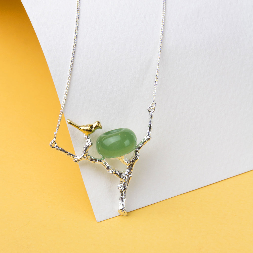 Green Aventurine Bird Necklace