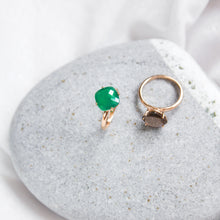 cushion cut green onyx ring with rose gold plating