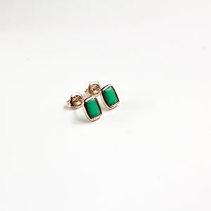 Green Onyx Emerald Cut Studs