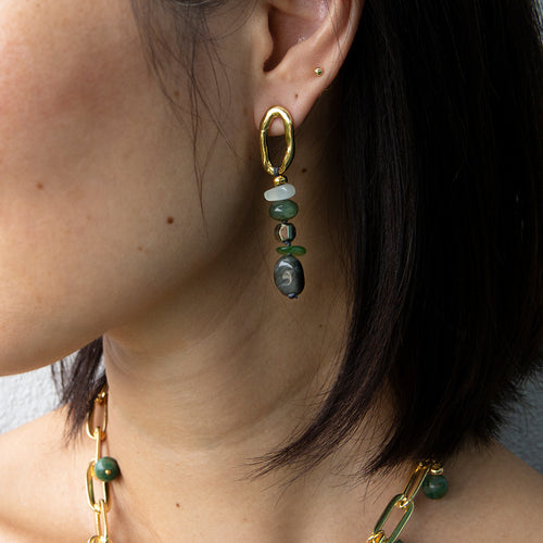 Velatti Stacked Green Quartz Earrings