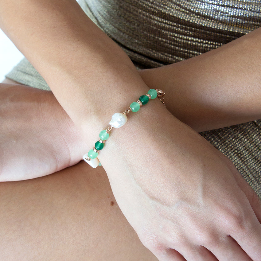 Green Jade, Emerald Green Agate and Pearl Bracelet